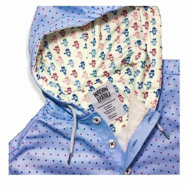 Watson & Family Baby Blue and Polka Dot Long Sleeve Hooded Sweatshirt